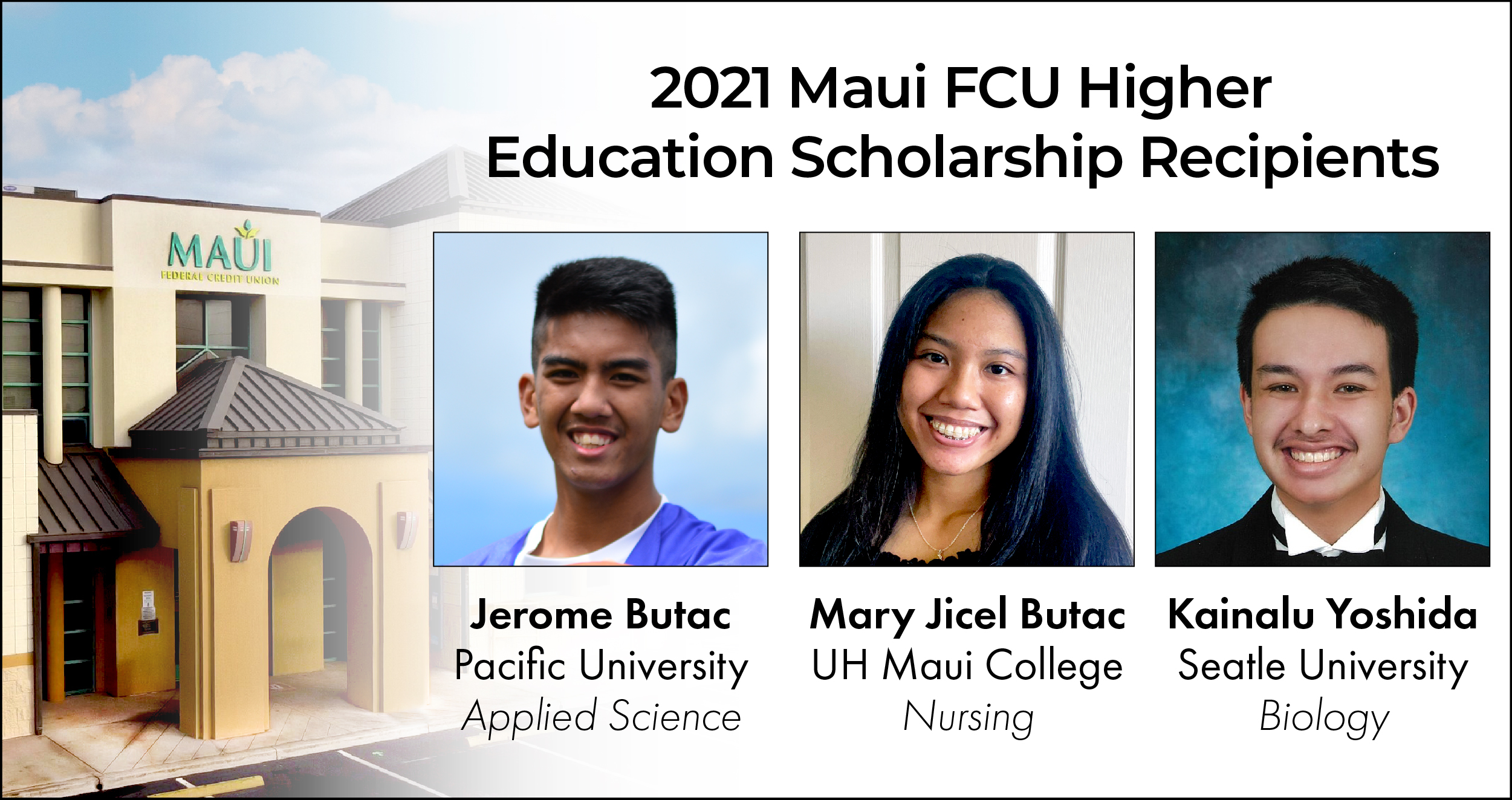 Maui Federal Credit Union Announces 2021 College Scholarship Recipients