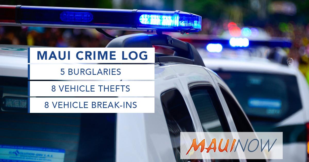 Maui Crime July 11-17, 2021: Burglaries, Break-ins, Thefts