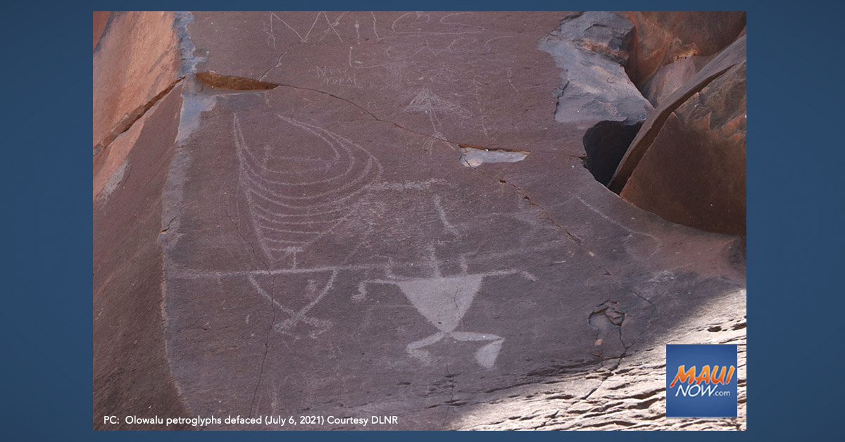 Olowalu Petroglyphs Vandalized, Paintball Markings Left Across Cliff Face