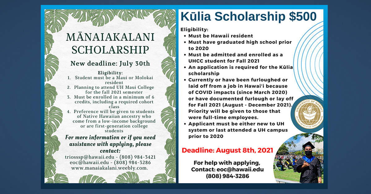 Maui Educational Opportunity Center Assists Students with College Scholarship Opportunities