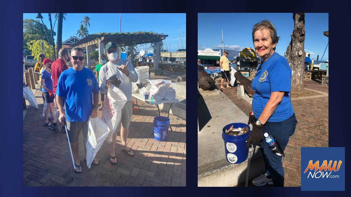 Lahaina Service Clubs and Non-Profits Work Together on Front Street Cleanup