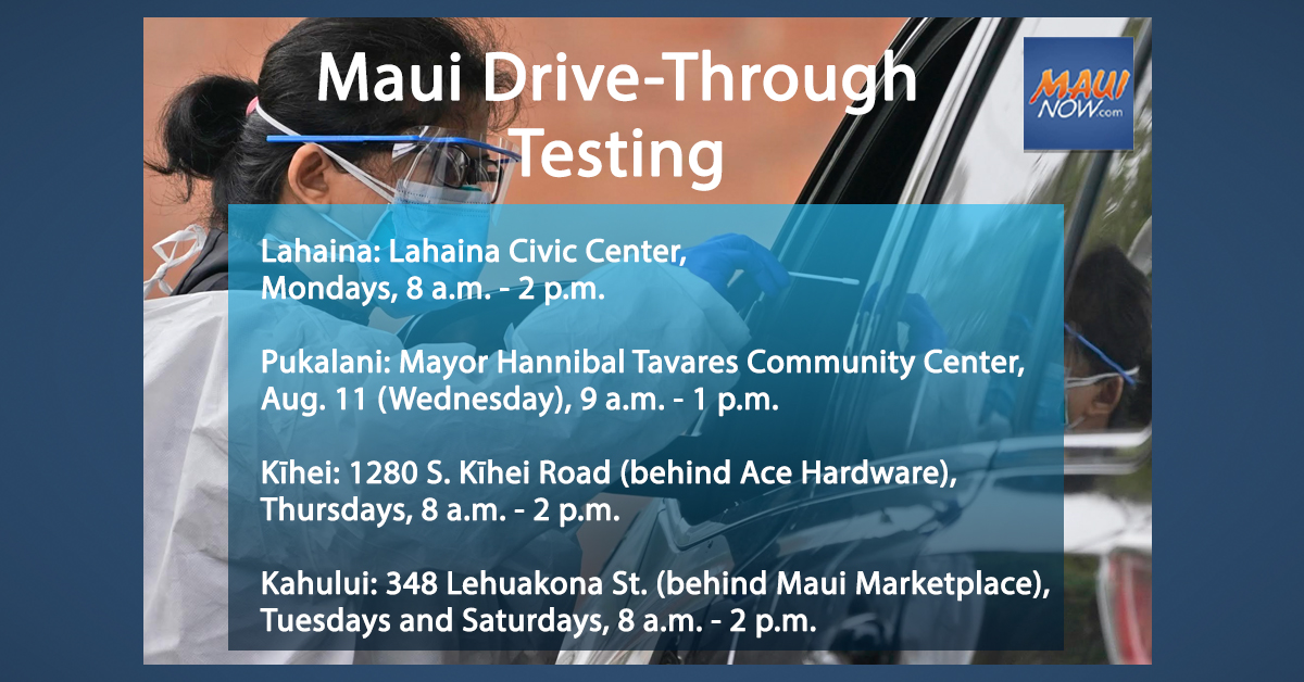 Maui Drive-Through COVID-19 Testing, Vaccines Available at Multiple Locations