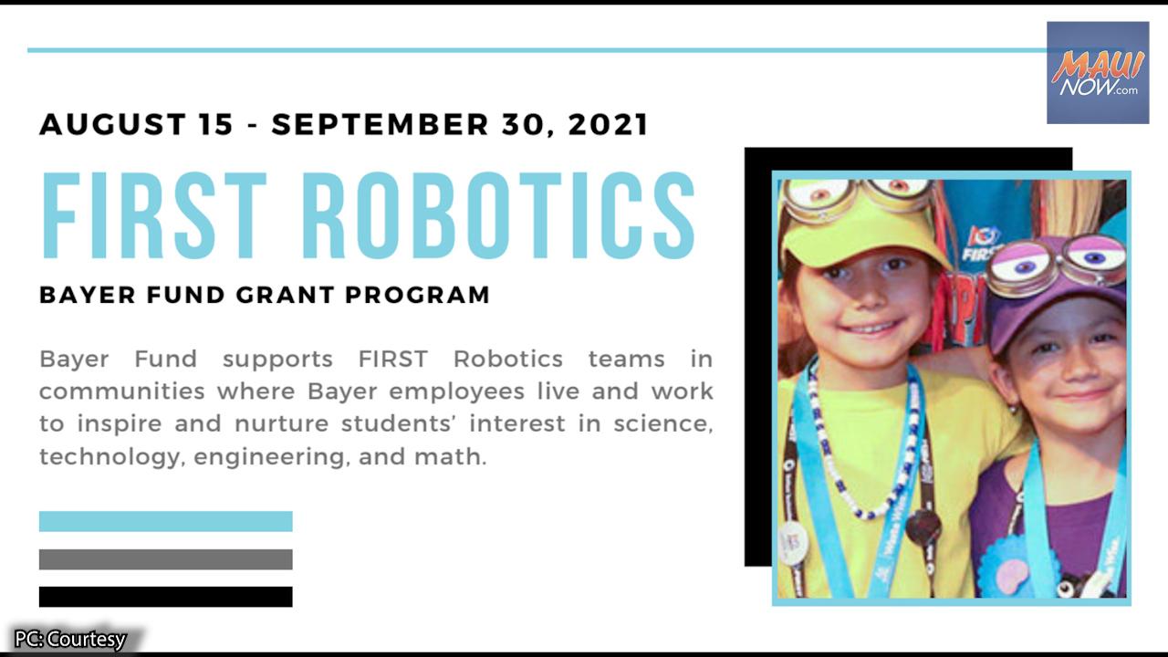 Robotics Teams Invited to Apply for 2021 FIRST Robotics Grant