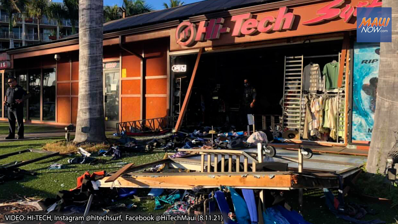 """Surveillance Video: HI-Tech Kīhei in Shambles After Vehicle Drives """"In and Out"""" of Store"""