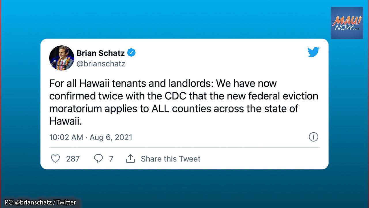 Sen. Schatz Confirms Federal Eviction Moratorium Applies to All Counties