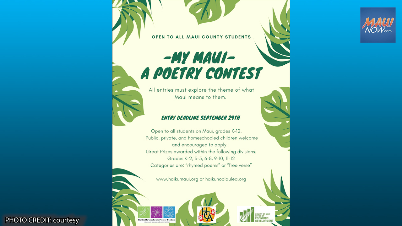 """""""My Maui"""" Poetry Contest Kicks Off for All Students K-12"""