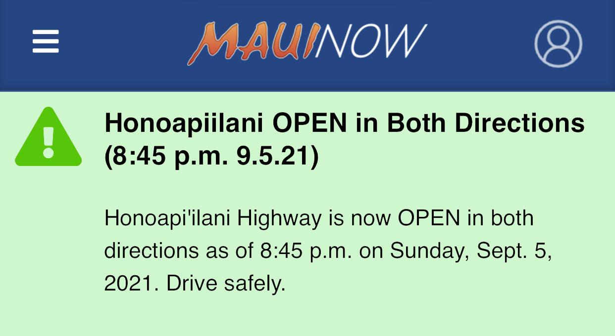 Honoapiʻilani Accident Update: Highway is Now OPEN