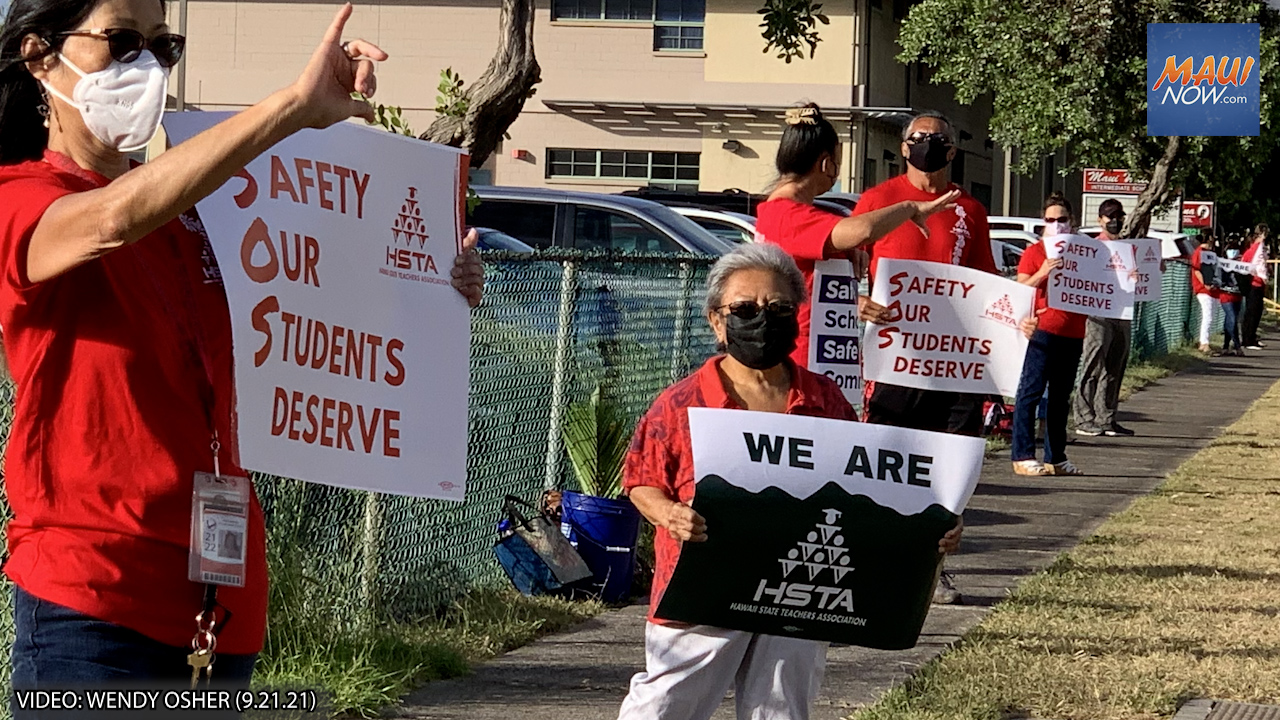 Maui Educators Picket for Improved Safety and Well-Being Amid Ongoing Pandemic