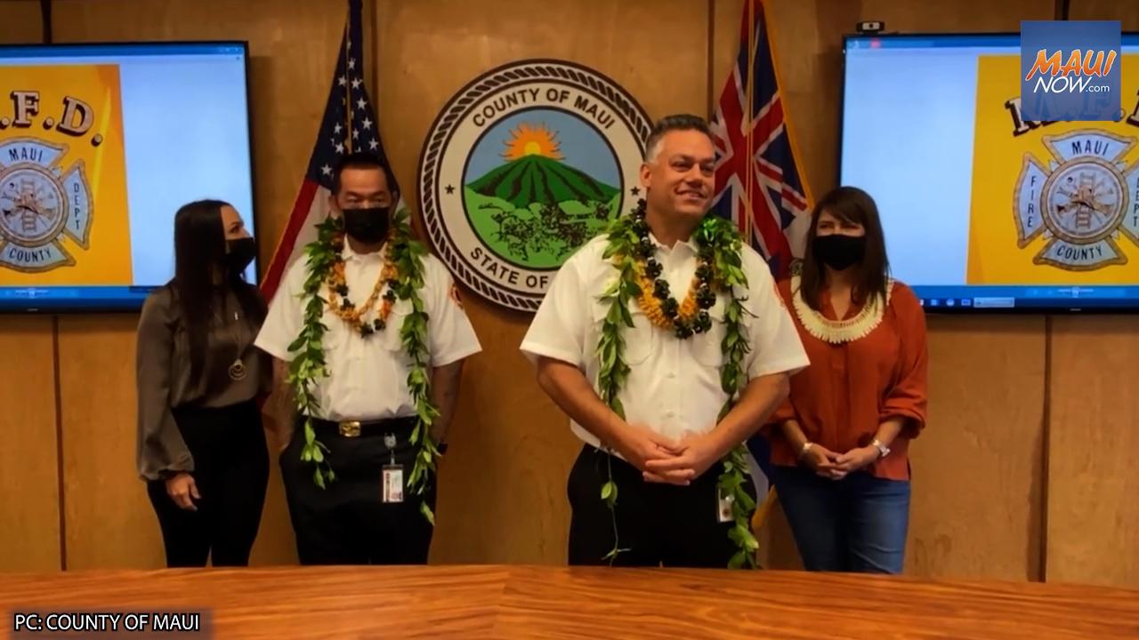 Maui Fire Chief Ventura and Deputy Chief Fujioka Sworn In