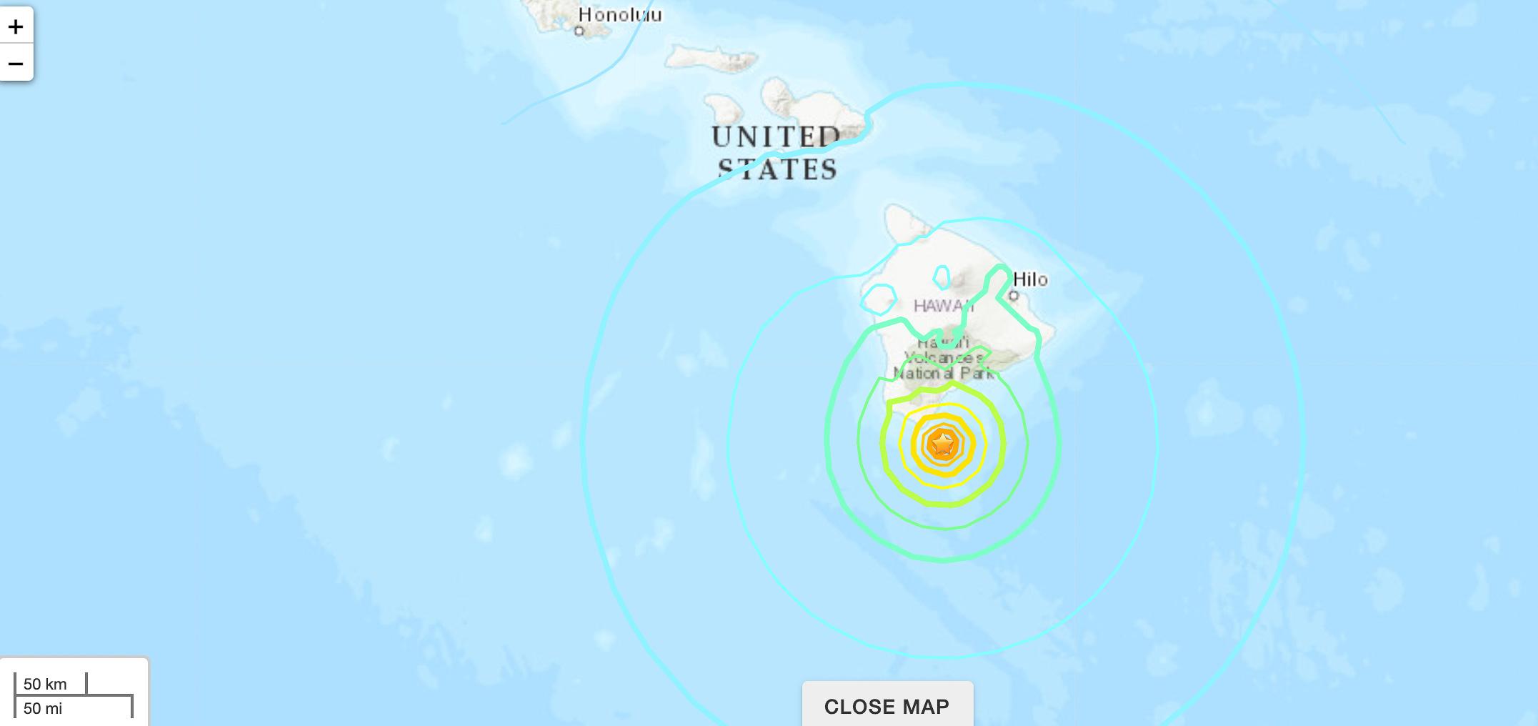 UPDATE: No Tsunami After 6.2 Earthquake off Kau Coast on Big Island, 3 Aftershocks