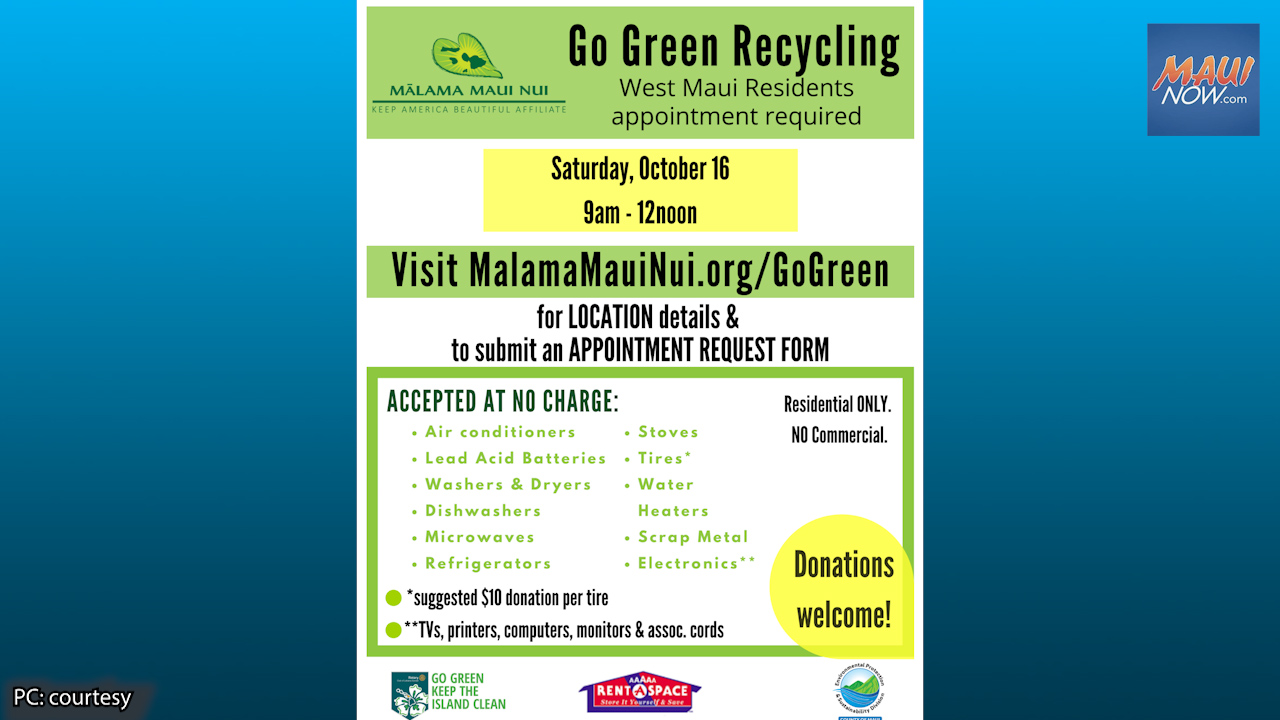Mālama Maui Nui's Go Green Recycling Event Set for Oct. 16 in Lahaina